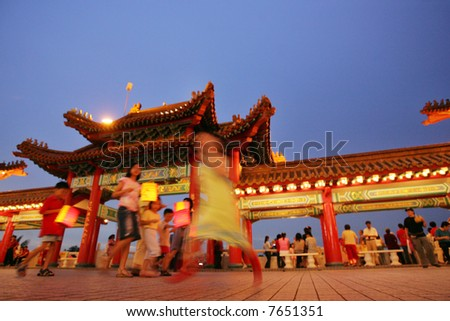 Chinese light candles during the Lantern Festival. - stock photo