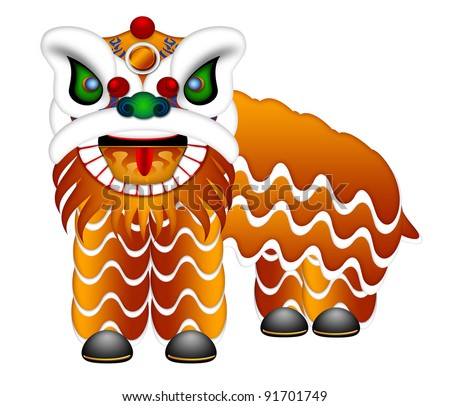 Chinese Lion Dance Colorful Ornate Head and Body Illustration Isolated on White Background - stock photo