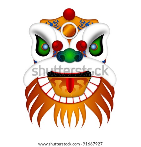 Chinese Lion Dance Colorful Ornate Head Illustration Isolated on White Background - stock photo