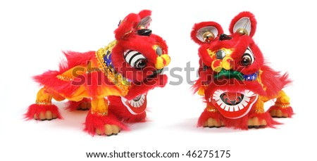 Chinese Lion Dance on White Background - stock photo