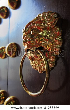 Chinese Lion door knob - stock photo