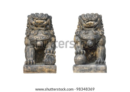 chinese lion guard in joss house - stock photo