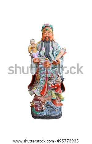 "Chinese lucky gods, Hock or Fu statues ""God of Wealth"" on White background, God of Fortune (Fu,Hok)"