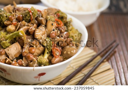 Chinese Lunch with stir fried vegetables and rice