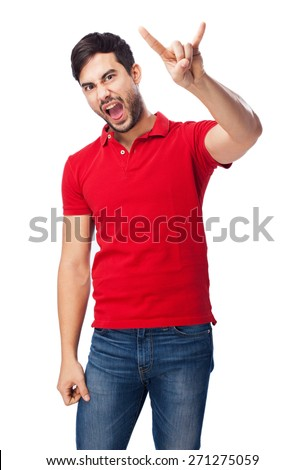 chinese man doing a rock gesture - stock photo