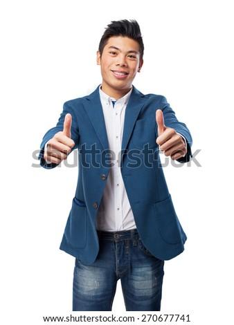 chinese man double okay gesture - stock photo