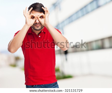 chinese man glasses gesture - stock photo