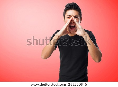 chinese man shouting - stock photo