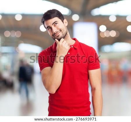 chinese man thinking - stock photo