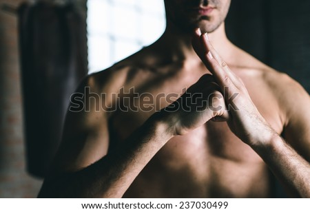 chinese martial arts greeting. concept about discipline and sport - stock photo
