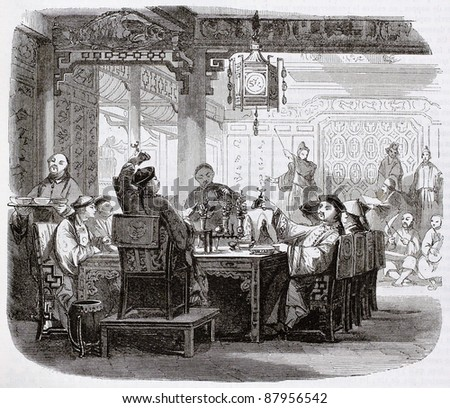 Chinese meal old illustration. By unidentified author, published on Magasin Pittoresque, Paris, 1844