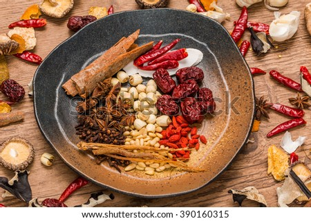 Chinese medicine dishes prepared with medicinal herbs health