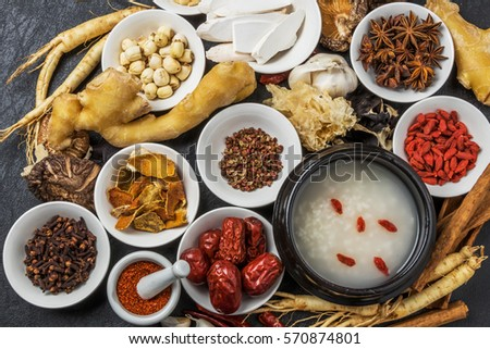 Chinese medicine ingredients of the dishes prepared with medicinal herbs dish
