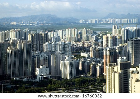 Chinese metropolis - modern Shenzhen city with office's skyscrapers, hotels and residential buildings.
