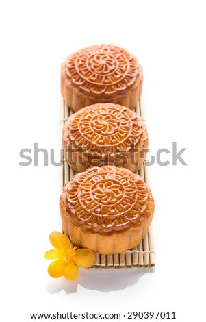 Chinese mid autumn festival foods. Traditional mooncakes on with background with copyspace - stock photo