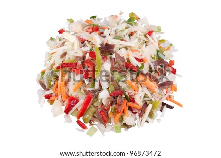 Chinese mix. Frozen vegetables with black fungus mushrooms strips. Diet food for healthy life. Isolated on white background. - stock photo