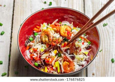 Chinese mix vegetables and rice