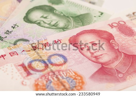 Chinese money yuan banknote close-up