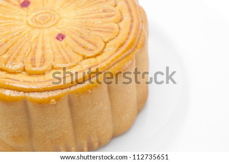 Chinese moon cake isolated on a white background.