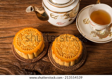 Chinese Moon cake isolated over white background.