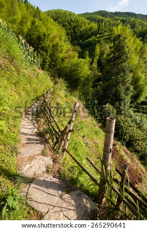Chinese mountains and stone pathway - stock photo