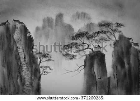 Chinese mountains and the monastery at the top - stock photo