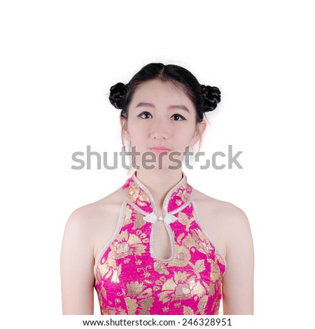 Chinese new year. beautiful young Asian woman dress traditional cheongsam - stock photo