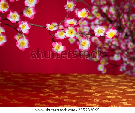 chinese new year cherry blossom with copyspace suitable for product placement purpose - stock photo