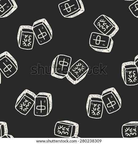 Chinese New Year; Chinese mahjong doodle seamless pattern background