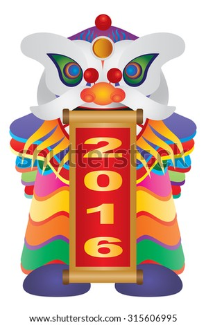 Chinese New Year Colorful Lion Dance Holding Scroll with Numerals 2016 Happy New Year Isolated on White Background Raster Illustration - stock photo