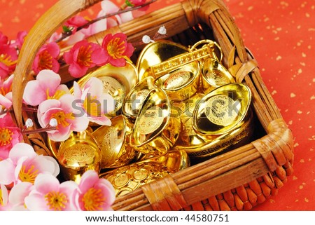 Chinese new year decoration--Basket filled with gold ingots on  festive background,Closeup.