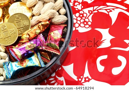 Chinese New Year Decoration--Candy Box on Paper-cut,Closeup. - stock photo