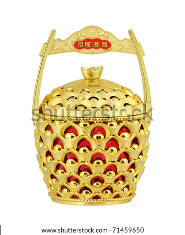 Chinese New Year Decoration - Chinese gold ingots pot. Clipping path provided. - stock photo