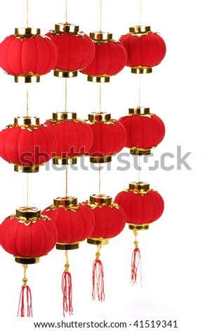Chinese new year decoration--Chinese new years lanterns ,isolated on white background.
