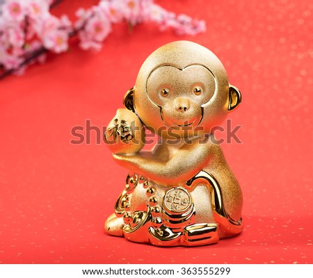chinese new year decoration  with golden monkey  - stock photo
