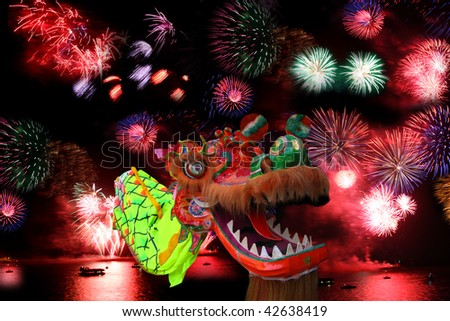 Chinese New Year Festival  with dragon - stock photo