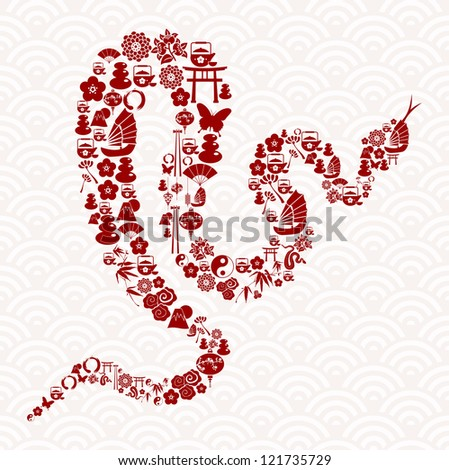 Chinese New Year of the Snake icon set composition background. - stock photo