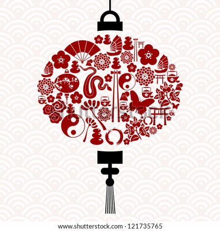 Chinese New Year of the Snake icon set lamp composition background. - stock photo