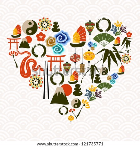 Chinese New Year of the Snake multicolored icon set composition heart. - stock photo