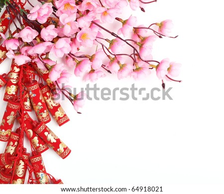 Chinese New Year Ornament,Firecrackers and Plum Blossom. - stock photo