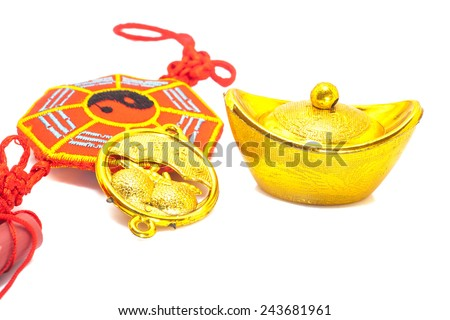 Chinese New Year Ornament--Gold ingots with  blessing word 2015. - stock photo