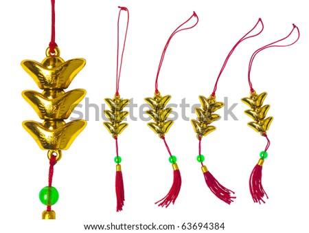 Chinese New Year Ornament - Ingot - stock photo