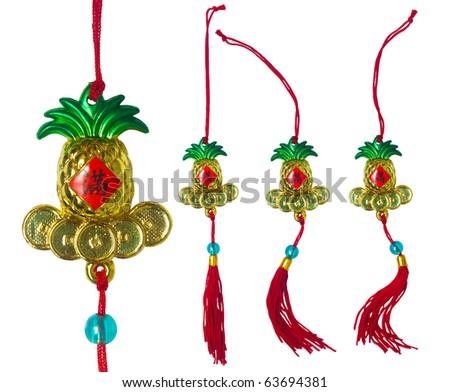 Chinese New Year Ornament - Pineapple, Flourishing Element - stock photo