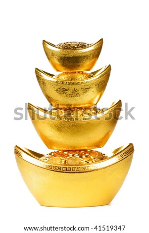 Chinese new year ornament--Stack of gold ingot,isolated on white background.