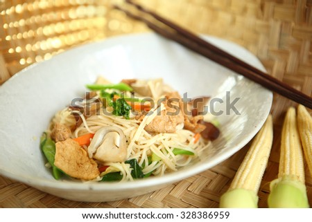 Chinese noodle fired with vegetable, Chinese Vegetarian Festival, selective focus.