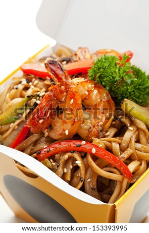 Chinese Noodle with Shrimps and Vegetables - stock photo