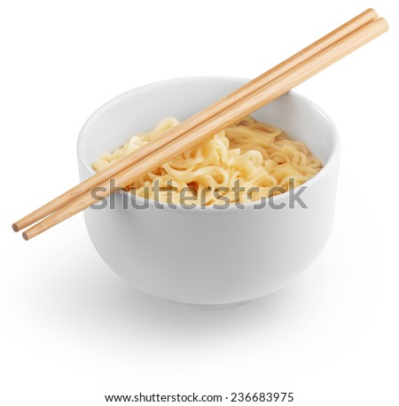 chinese noodles in a white bowl and chopsticks - stock photo