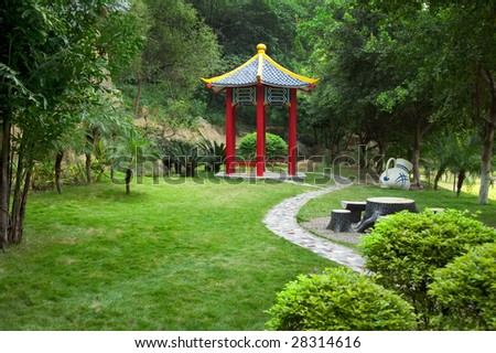 Chinese old-fashioned gazebo in a park in Fuzhou,China - stock photo