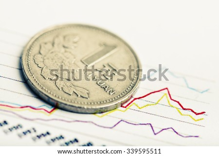 Chinese One Yuan Coin and Fluctuating graph. Rate of the Chinese Yuan (shallow DOF)  - stock photo