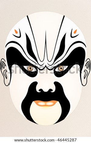chinese opera face on Fabric with floral pattern - stock photo